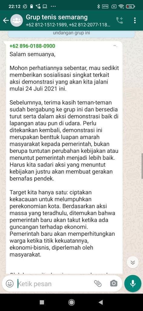 Polisi Selidiki 'Grup Tenis Semarang' yang Mau Kacaukan Kota