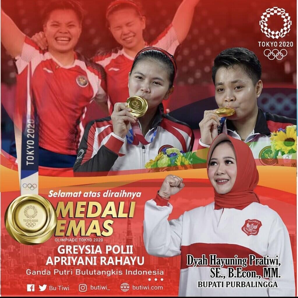 Bikin Senyum, Ucapan Selamat atas Medali Emas Olimpiade Greysia-Apriyani