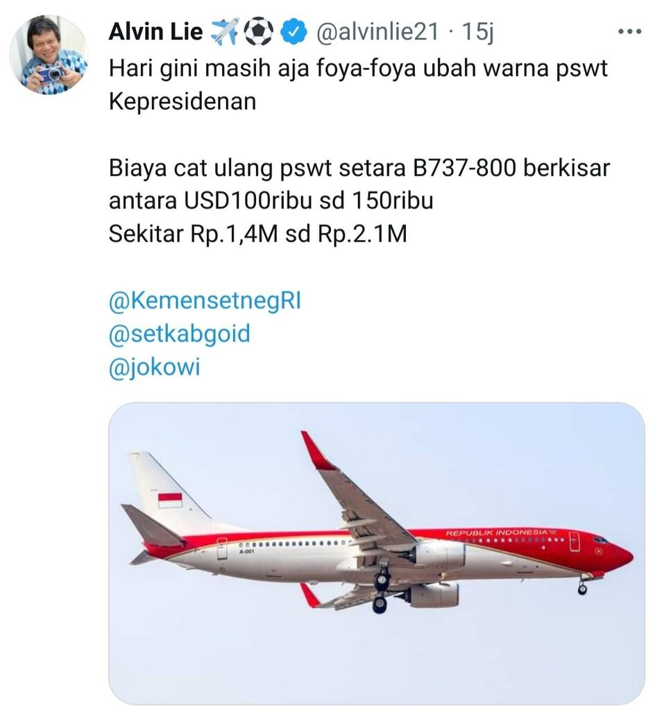 Dikritik Pemborosan, Biaya Cat Pesawat Kepresiden Diperkirakan Tembus Rp2,1 Miliar