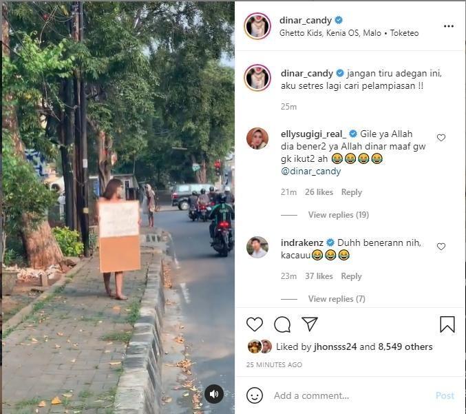 Dinar Candy Tepati Janji, Protes Perpanjangan PPKM ke Jokowi Pakai Bikini di Jalanan