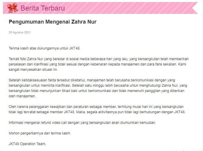 Skandal Foto Mesra Member JKT48 Muncul Lagi, Pesan dari Ayah Ara Pelu Diresapi