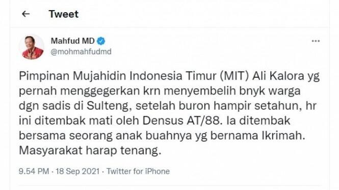 Pimpinan Teroris Poso Mujahidin Indonesia Timur (MIT) Ali Kalora Dipastikan Tewas
