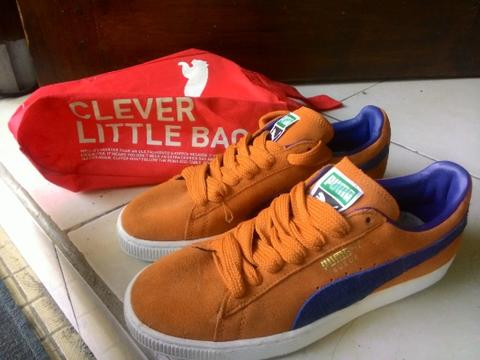 new product ee70e 837de Puma Suede Classic Orange Blue Original Second