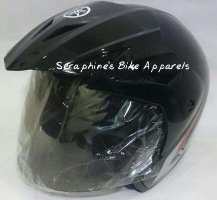 HELM HALF FACE ORIGINAL ex YAMAHA MOTOR MATIC - ALL SIZE, SNI, HITAM (BLACK)