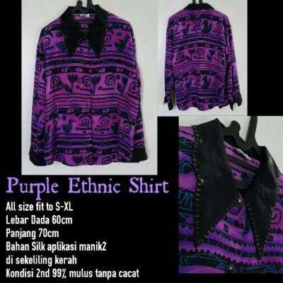 [Preloved] Purple Ethnic Shirt Vintage fit XL - Second/Bekas