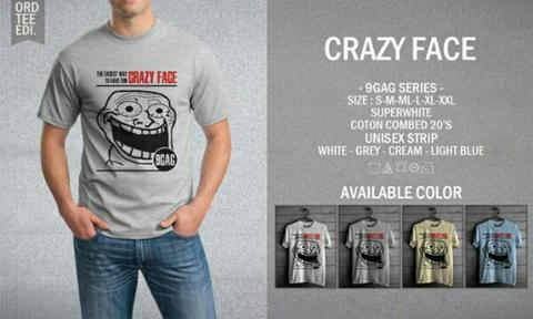 Kaos Distro T-Shirt Crazy Face : 9GAG Series Clothing
