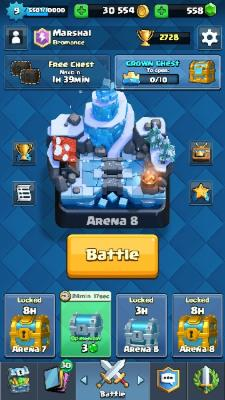 Id Clash royale ada 550 gem 30.000 gold, throphy 2600an, bisa ganti nama