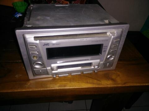 Head Unit JVC double din bawaan Honda City, Clear voice radio, CD, tape, Depok