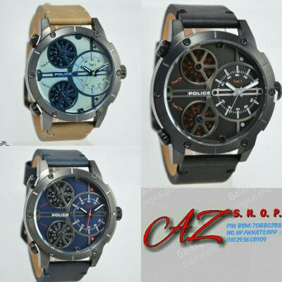 Jam Tangan Pria Police 14799 triple time Leather Original Murah