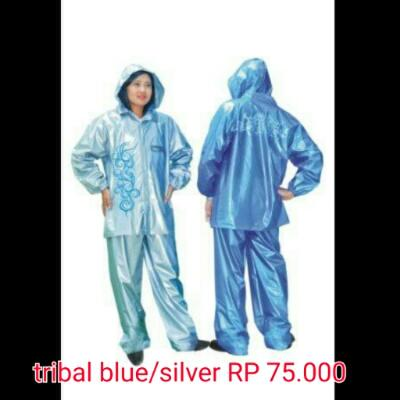 jas hujan tribal blue silver