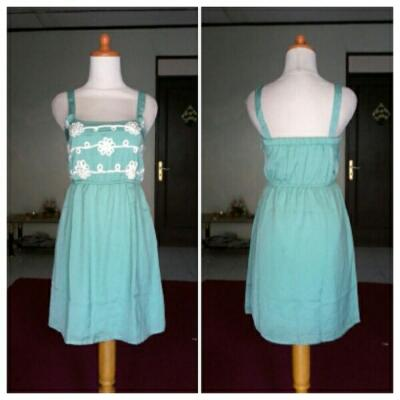 DRESS SWIVELLE _ POLYESTER SATIN HIJAU KOMBI BORDIR SIZE S
