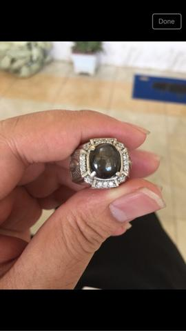 black shappire + ring silver 925