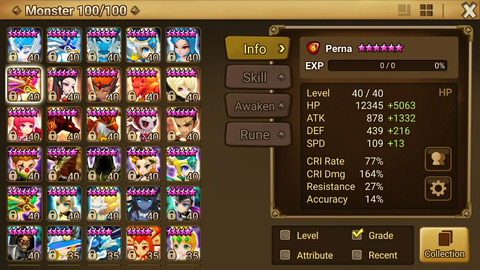J> ID Summoner Wars Global VVIP rune 6NB*5 non-fuse Camilla Perna and others
