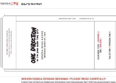 jual tiket konser one direction maret 2015