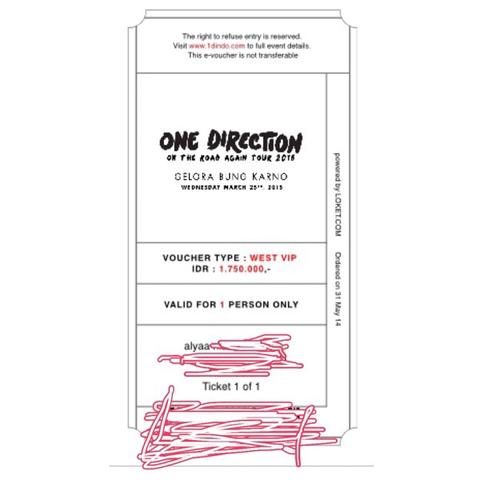 tiket one direction on the road tour 2015
