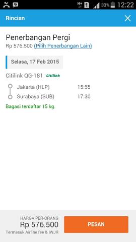 Jual Cepet Tiket Citilink Jakarta (HLP) -surabaya 17-02-2015