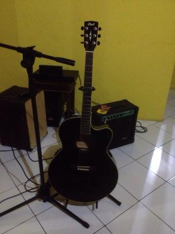 gitar akustik cort cj1f black acoutic electric guitar