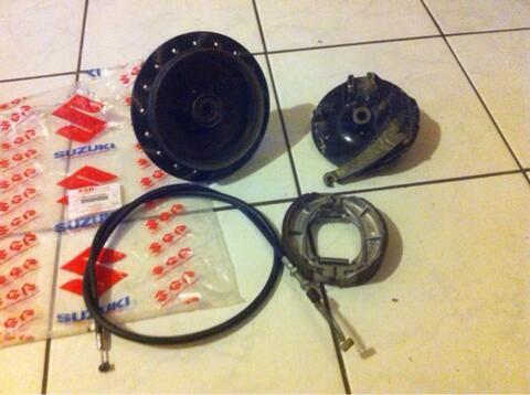 Tromol depan Suzuki TS 125 + kampas, kabel, handle rem TURUN HARGA (Bandung)