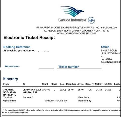 Tiket Pesawat Garuda Jakarta Bali Denpasar Pria 22 Agustus