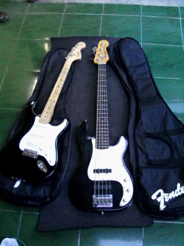 jual cepat 2 squier bass n gitar