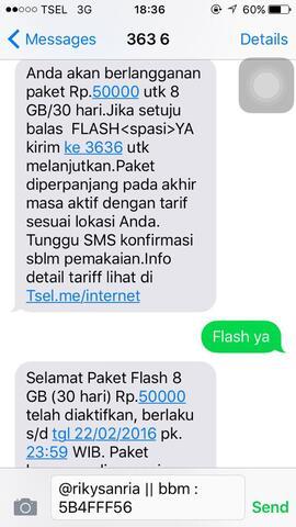 [verified seller] Telkomsel Paket internet 8GB 50RB