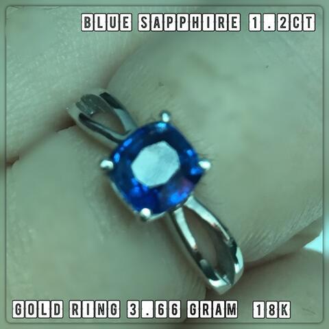 JOJO Bluesapphire Srilanka 1.2ct dengan emas putih