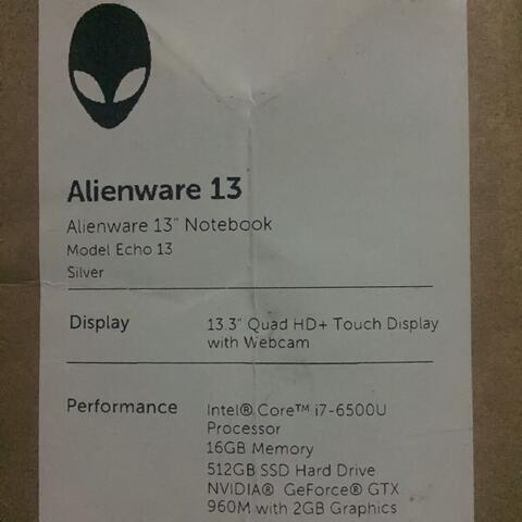 """Alienware R2 13"""" 2015"""