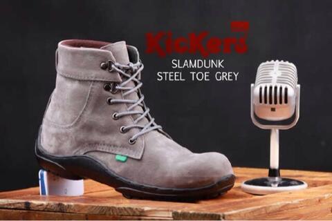 Sepatu boots pria kickers slamdunk warna abu dan coklat muda safety ujung besi