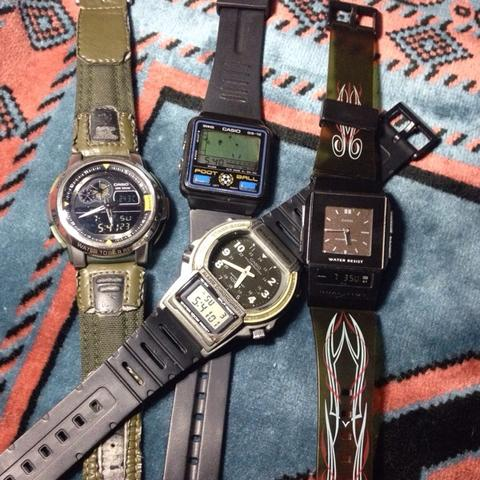 Casio Game GS 12.. aqf 102 thermo.. aw 61 dual time.. FS 01 fil watch.. vintage rare