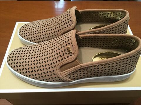 Michael Kors Olivia Slip On Sneakers Dark Khaki Sz 7