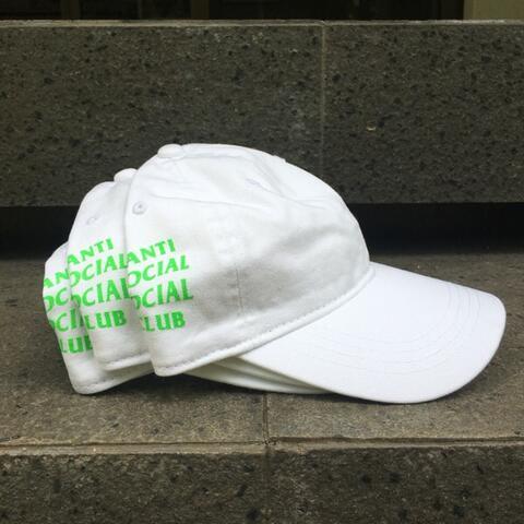 Anti Social Social Club Weird Cap White w/ Neon Green