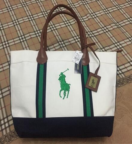 533bb597a7 Tas wanita Polo Handbag casual White-navy-green Original Polo Ralph Lauren