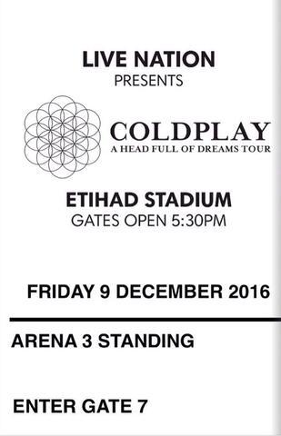 KONSER Coldplay Melbourne Dec 9 2016