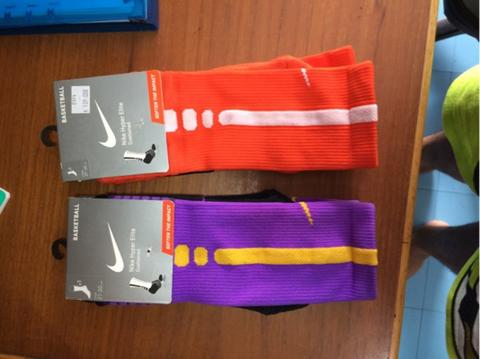 Nike elite basket socks kaos kaki original (ungu dan oren) size L mumer