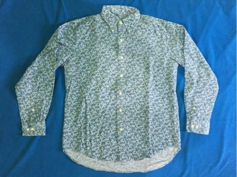 Uniqlo Blue Corduroy Floral Pattern Long Shirt
