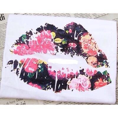 flower lips tumblr tee lengan pendek cewek