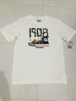 Terjual Tshirt kaos Converse Putih XL 100% Original Baru  6183a32943