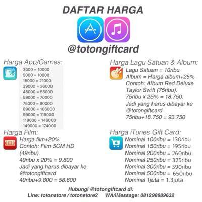 Original iTunes Gift Card Indonesia & US & jasa gift iTunes Store @totongiftcard