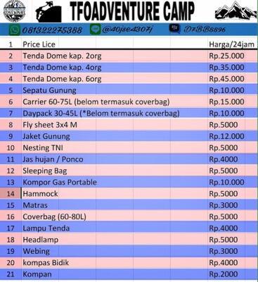 Terjual Sewa Alat Camping Di Bandung Kaskus