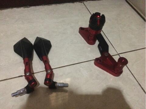 spion tomok fast bikes dan slider knalpot nmax merk rdr full cnc merah