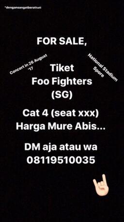 tiket concert / konser foo fighters national stadium singapore