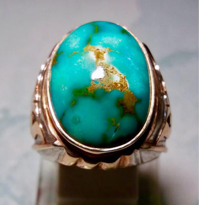 Cincin Pirus Persia warna toska urat emas