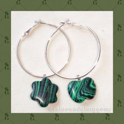 Anting loop simpel dg aksen batu malachite asimetris asli