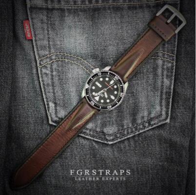 Tali jam tangan handmade / handmade leather watch strap