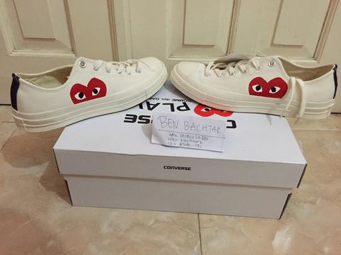 02aa9231b2e7 Jual Converse CT 70s x CDG Play White Low   comme des garcons