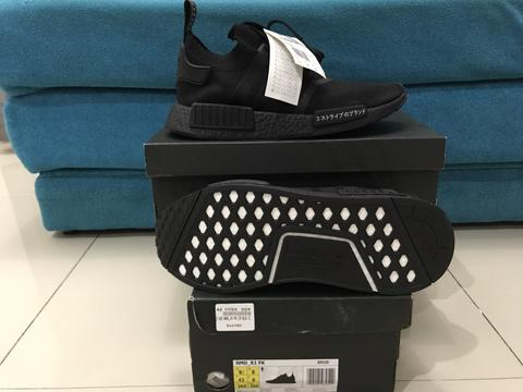 on sale b8c64 4ba12 ADIDAS NMD R1 PK PRIMEKNIT JAPAN BOOST TRIPLE BLACK LIMITED EDITION BZ0220  SIZE 43.5