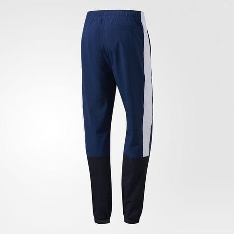 Mens Adidas Blocked Wind Track Pants BJ8747 Blue Black White
