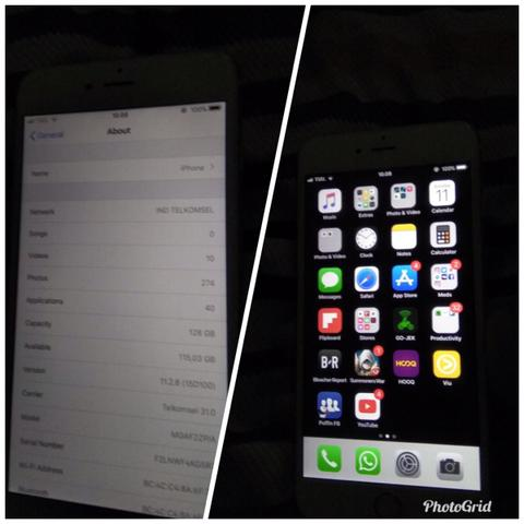iPhone 6 plus 128gb / fingerprint off / batangan / 4g lte FU bukan SU
