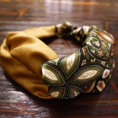 bandana batik hijau gold