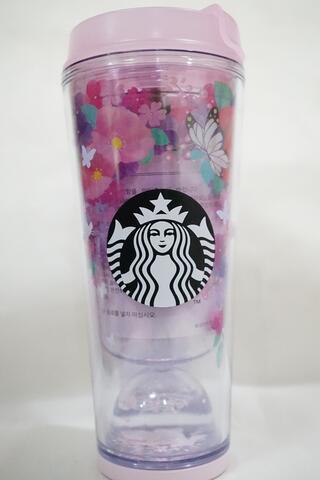 Starbucks Tumbler Pink Sakura Butterflies Dome Korea 12 oz 355 ml